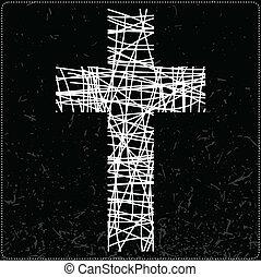 White cross on black background