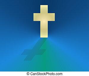 White Cross on Blue Field - White cross on a bright blue...