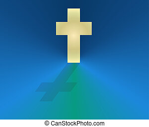 White Cross on Blue Field - White cross on a bright blue...