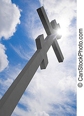 White cross on blue sky background