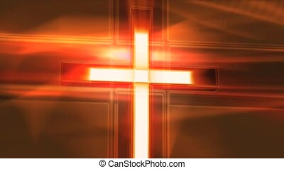 White Cross on Red Background