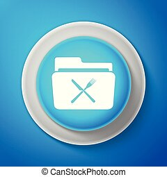 White Crossed fork and knife over folder icon isolated on blue background. Circle blue button with white line. Vector Illustration