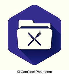 White Crossed fork and knife over folder icon isolated with long shadow. Restaurant symbol. Purple hexagon button. Vector Illustration