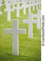 Cemetery - White crosses in American Cemetery, Coleville-sur...