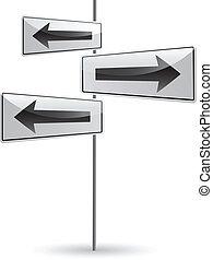White crossroads with arrow