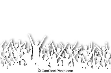 White crowd - Illustrated silhouettes of white cutout...