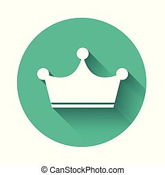 White Crown icon isolated with long shadow. Green circle button. Vector Illustration