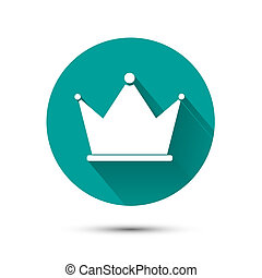 White crown icon on green background with shadow