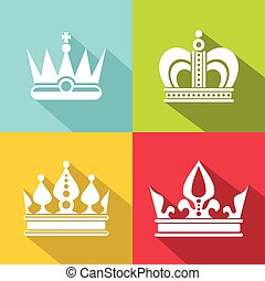 White crown icons on color background