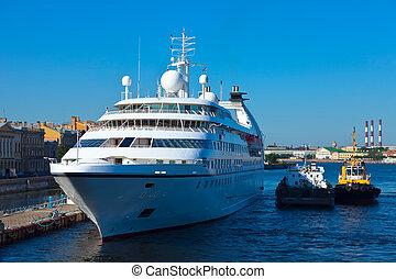 white cruise ship at Neva. Saint Petersburg. Russia