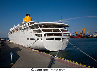 White cruise ship in the port