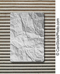 White crumpled paper on Corrugated paper