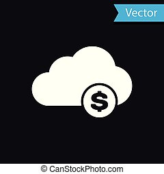 White Cryptocurrency cloud mining icon isolated on black background. Blockchain technology, bitcoin, digital money market, cryptocoin wallet. Vector Illustration