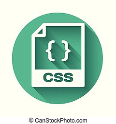 White CSS file document icon. Download css button icon isolated with long shadow. CSS file symbol. Green circle button. Vector Illustration