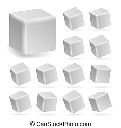 White Cube 3d Set . Perspective Models Of A Cube Isolated On White