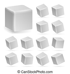 White Cube 3d Set Vector. Perspective Models Of A Cube Isolated On White