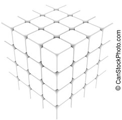 white cube abstract vector illustration isolated eps 10