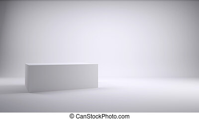 White cube in the studio. White background