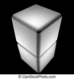 white cube isolated over black