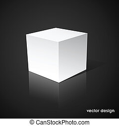 White cube on a black background