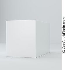 White cube on wall studio background. 3d illustration