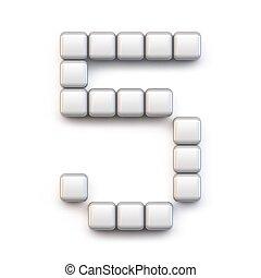 White cube, pixel font Number FIVE 5 3D