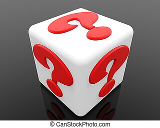White cube with red question mark concept on black background