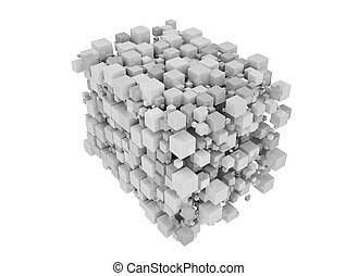 White cubes 3D. Isolated on white background