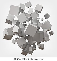 white cubes. 3d style vector illustration.