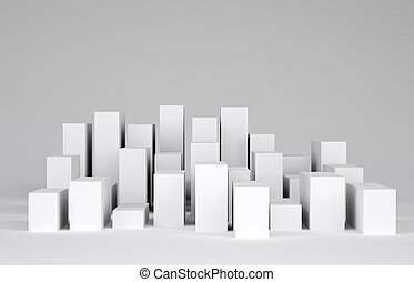 White cubes. Gray gradient background