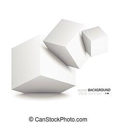 White cubes isolated on white background. Minimalistic...