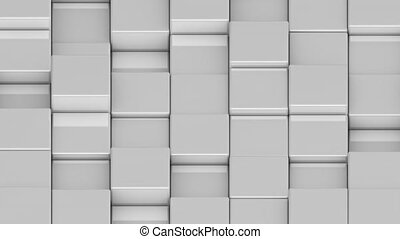 White cubes moving up and down in a random pattern. 3D animated motion background loop. Isometric view.