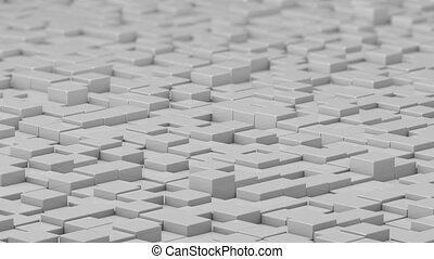 White cubes moving up and down in a random pattern. 3D animated motion background loop.