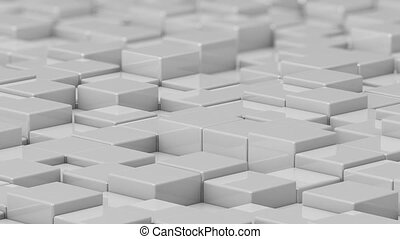 White cubes moving up and down in a random pattern.