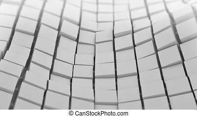 White cubes surface waving. Seamless loop 3D animation