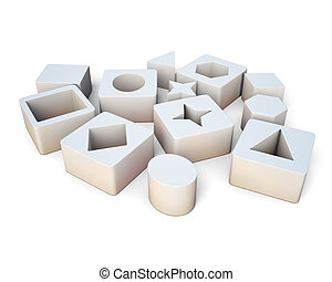 White cubes with geometric shapes isolated on white background.