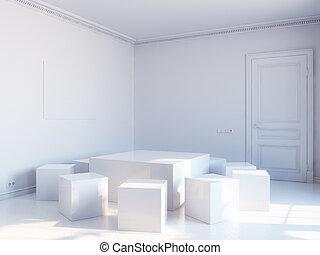 white cubic interior