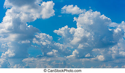 White cumulus clouds on blue sky with natural morning daylight