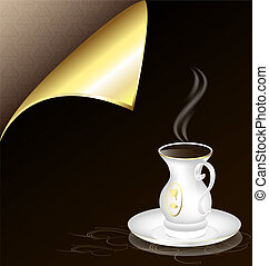 white cup and golden corner