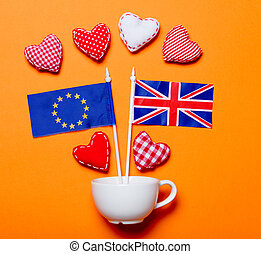 heart shapes with Europe Union and United Kingdom flags