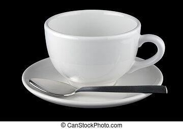 White cup and saucer with spoon