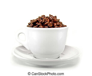 White cup - Fresh coffee beans and ceramic coffee cup