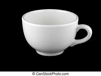 White cup isolated against black background
