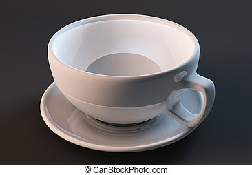 White cup isolated on a black background 3d render