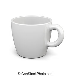White cup isolated on white background. 3d render image