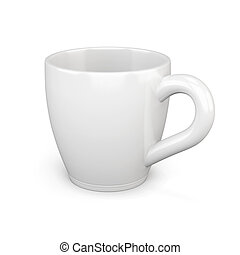 White cup isolated on white background. 3d rendering