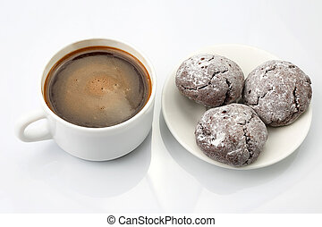 white Cup of black coffee with biscuits on white background