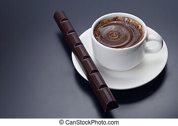 white Cup of black coffee with chocolate