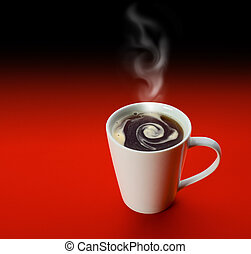 White cup of coffe over red background with clipping path