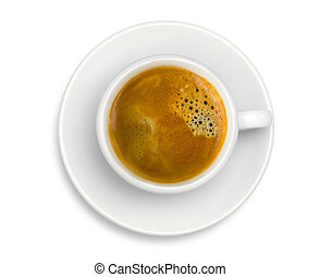 White cup of coffee espresso isolated on the white...